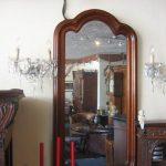 Oude mahoniehouten spiegel facet geslepen