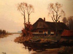 Boerderij aan het water (A.J. Waltmann)