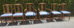 Set van 6 iepenhouten  stoelen